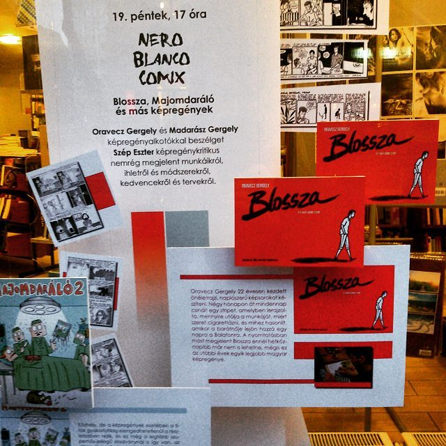 írók boltja kirakat